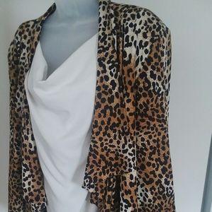 Dressbarn Draped Front Leopard Print Blazer 22/24W